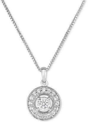 Macy's Diamond Halo Pendant Necklace (1/4 ct. t.w.) in 10k White Gold