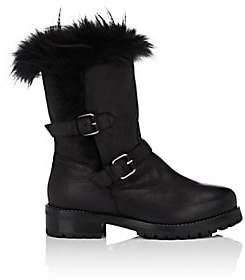 Sartore Women's Fur-Lined Leather Moto Boots - Black