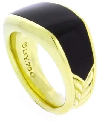 David Yurman 18K Yellow Gold 3 Sided Onyx Ring