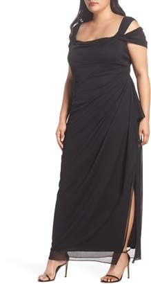 Alex Evenings Cold Shoulder Mesh Gown