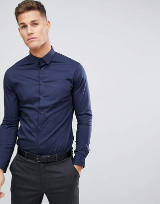 Celio Smart Shirt With Stretch In Navy