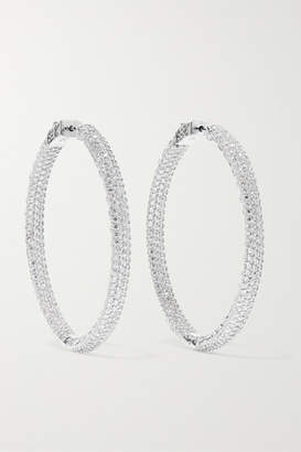 Kenneth Jay Lane Rhodium-plated Crystal Hoop Earrings