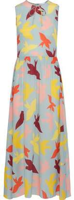 RED Valentino Bow-Embellished Printed Silk Midi Dress