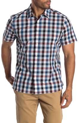 Perry Ellis Multi Check Short Sleeve Straight Fit Shirt