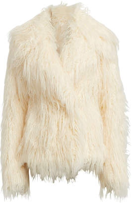Paco Rabanne Oversized Faux Mongolian Fur Jacket