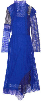3.1 Phillip Lim Asymmetric Paneled Lace Midi Dress - Bright blue