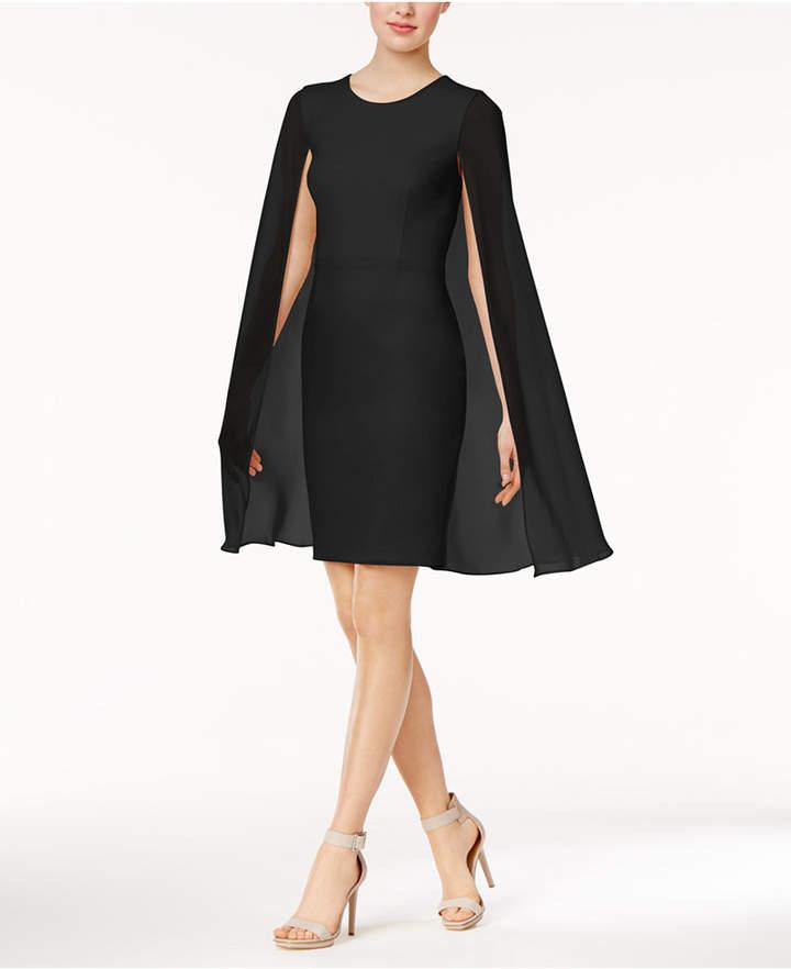 Calvin Klein Crepe Cape Dress