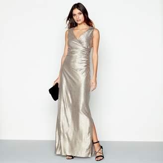 Debut Gold Metallic V-Neck Maxi Dress