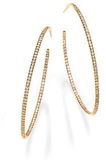 "Roberto Coin Women's Diamond & 18K Gold Inside-Outside Hoop Earrings/2.25"""