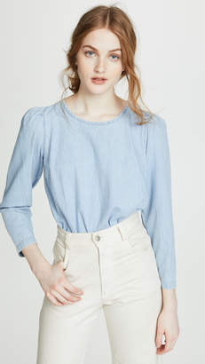 Madewell Denim Puff Sleeve Swing Shirt