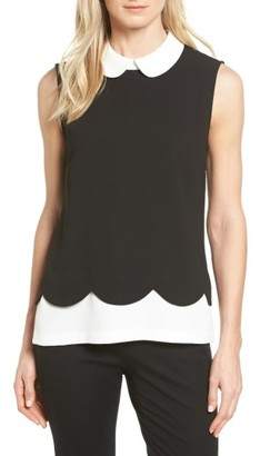 Women's Cece Scallop Detail Layer Look Blouse $99 thestylecure.com