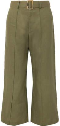 Lisa Marie Fernandez Belted Linen Wide-leg Pants - Army green