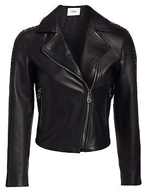 Fendi Women's Leather Logo Stripe Moto Jacket