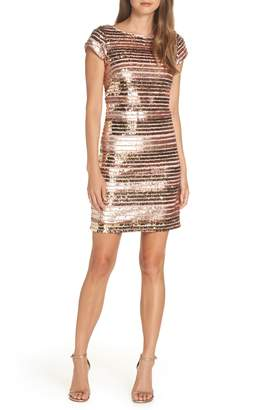Eliza J Cap Sleeve Sequin Stripe Dress