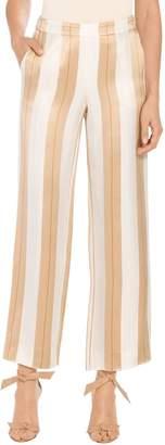 St. John Viscose Satin Twill Stripe Straight Leg Pants