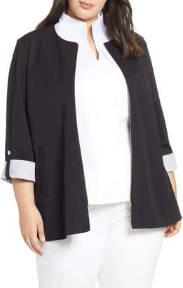 Ming Wang Contrast Cuff Zip Front Cotton Blend Jacket