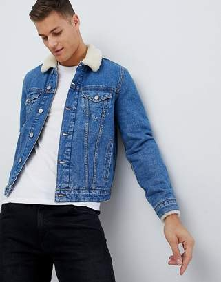 Asos Design Denim Jacket With Borg Collar In Light Wash