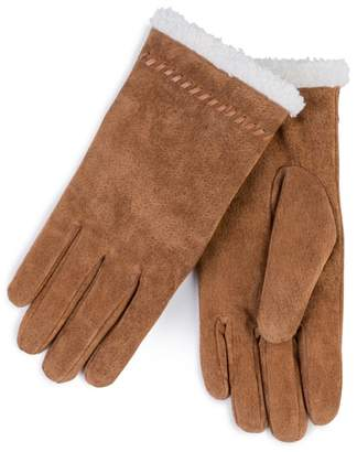 totes Tan Suede Gloves With Sherpa Cuff