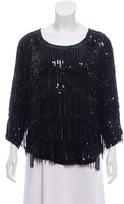 Mes Demoiselles Sequin-Accented Fringe Top w/ Tags