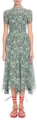 Proenza Schouler Mock-Neck Allover Printed Lace Midi Dress