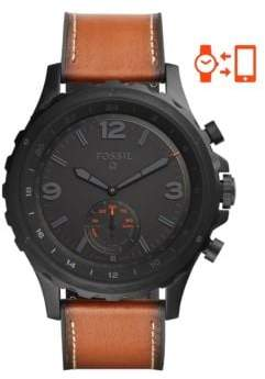 Fossil Hybrid Smart Watch - Q Nate Dark Brown Leather