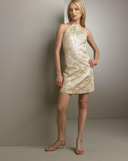 Miguelina Minda Brocade Halter Dress