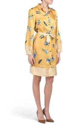 Marisa & Marie Made In Italy Floral Stripe Belted Shirt Dress