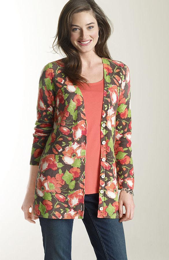 J. Jill Blooming poppies cardigan