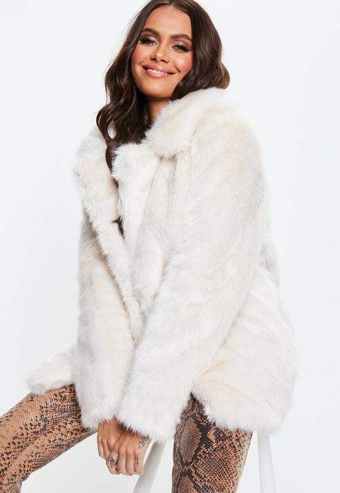 Cream Faux Fur Coat with Collar, Cream