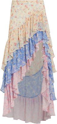 LoveShackFancy Lisette Silk High-Low Skirt