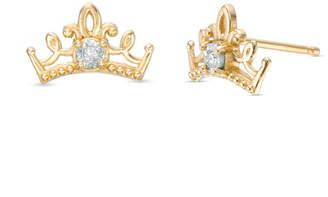 Zales Child's Disney Twinkle Princess Diamond Accent Beaded Tiara Stud Earrings in 14K Gold