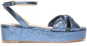 Castaner Twist-front Metallic Snake-effect Leather Platform Sandals