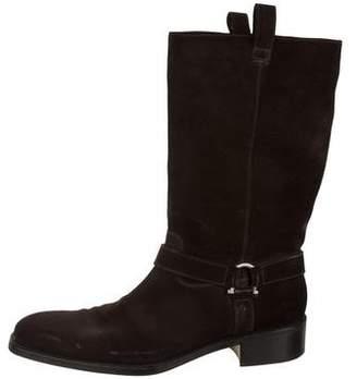 Salvatore Ferragamo Suede Square-Toe Tall Boots