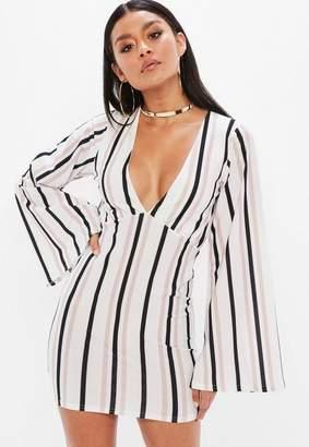 Missguided White Stripe Kimono Sleeve Plunge Mini Dress