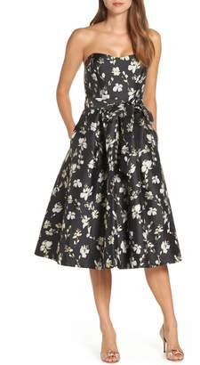 1901 Strapless Floral Jacquard Fit & Flare Midi Dress