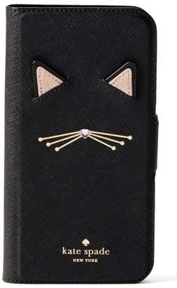 Kate Spade cat applique iPhone X & Xs folio case