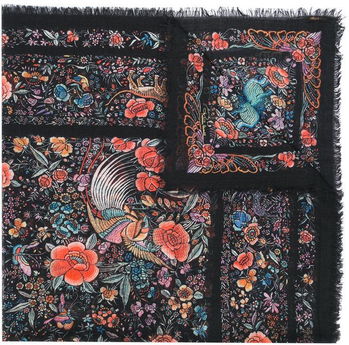 Roberto CavalliRoberto Cavalli printed fringed scarf