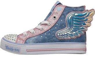 Skechers Girls Twinkle Toes Shuffles Fooling Flutters Denim High Tops Blue/Silver