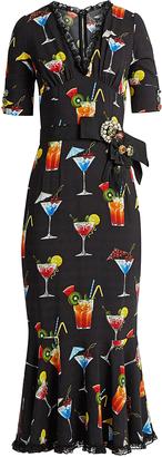 DOLCE & GABBANA Cocktail-print cady midi dress $3,995 thestylecure.com
