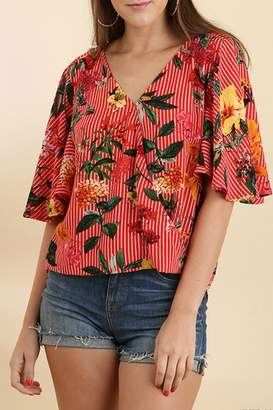 Umgee USA Striped Floral Top