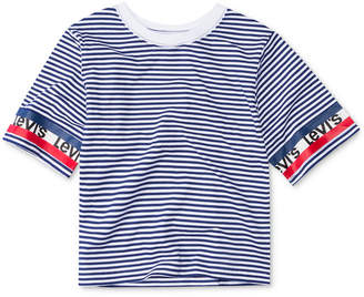Levi's Big Girls Striped Cotton Crop T-Shirt