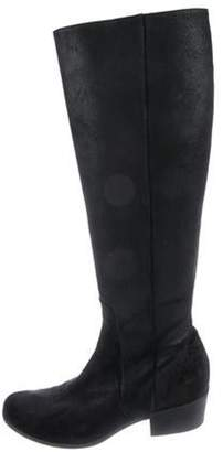 Jimmy Choo Suede Round-Toe Knee-High Boots Black Suede Round-Toe Knee-High Boots