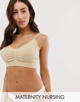 Emma Jane Maternity soft cup seam free nursing bra with removable padding in beige