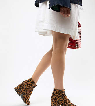Lost Ink Wide Fit Leopard Print Ankle Boots
