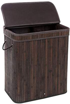 Laundry by Shelli Segal SONGMICS Divided Bamboo Laundry Basket Double Hamper with Lid Handles and Removable Liner Two-section Dirty Clothes Storage Sorter Rectangular Dark Brown ULCB64B
