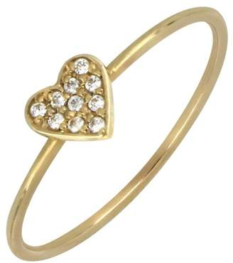 Bony Levy 18K Gold Heart Diamond Pave Ring - 0.04 ctw