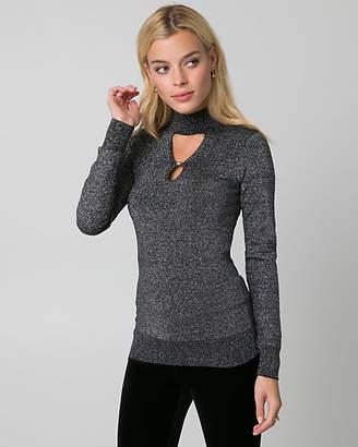Le Château Metallic Knit Mock Neck Sweater