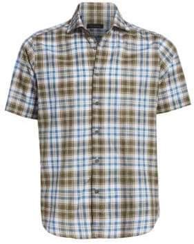 Saks Fifth Avenue COLLECTION Cotton& Linen Plaid Shirt