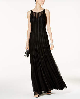 Betsy & Adam Mesh & Satin Illusion Stripe Gown