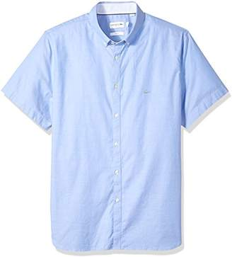 Lacoste Men's Short Sleeve Stretch Pinpoint Button Down Collar Slim Woven Shirt
